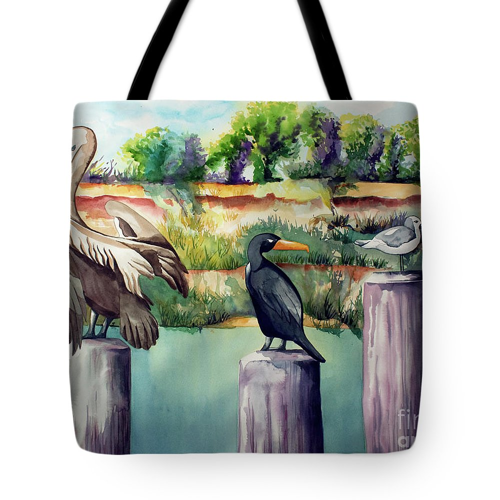Birds Painting Tote Bag featuring the painting Neighborhood Gossip by Kandyce Waltensperger