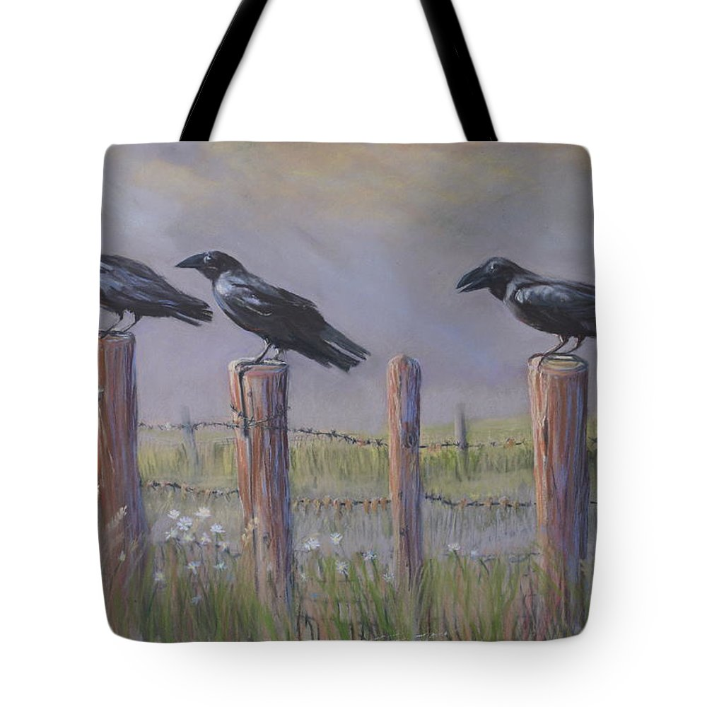 Crows Tote Bag featuring the painting Neighborhood Watch by Heather Coen