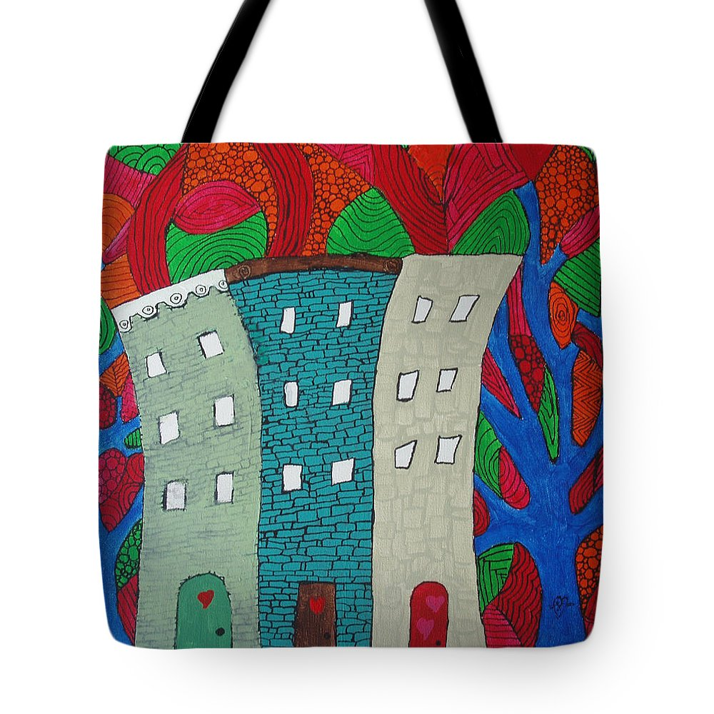 Houses Tote Bag featuring the painting Neighbors by Wayne Potrafka