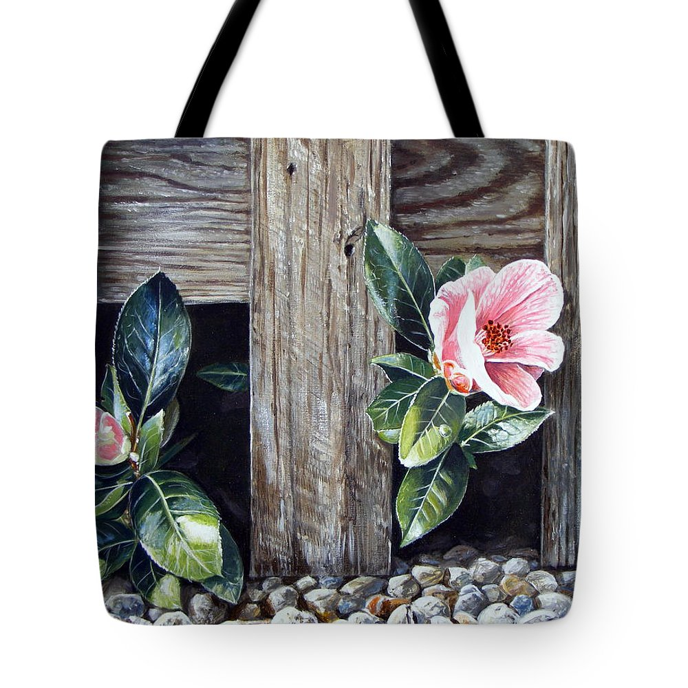 Flower Pink Acrylics Neighbours Fence Wood Leaves Tote Bag featuring the painting Neighbours by Arie Van der Wijst