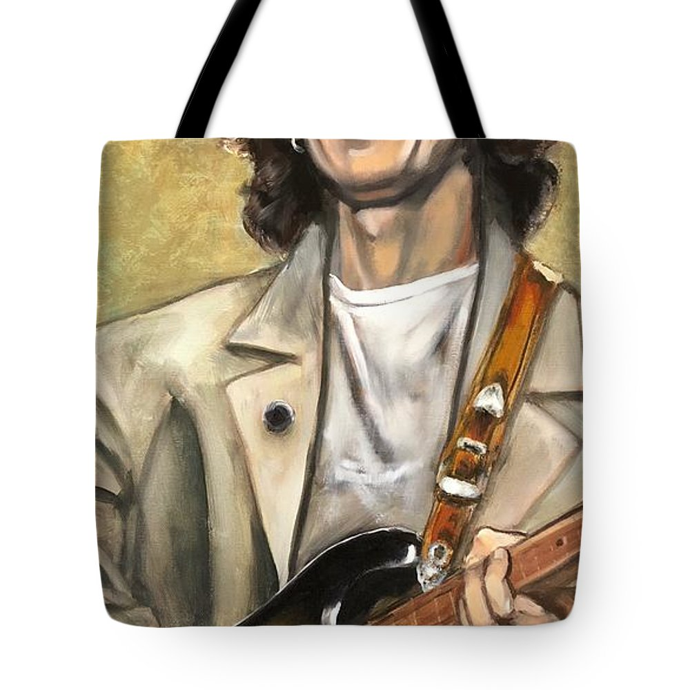 Male Tote Bag featuring the painting Nelson Wilbury by Christina Clare