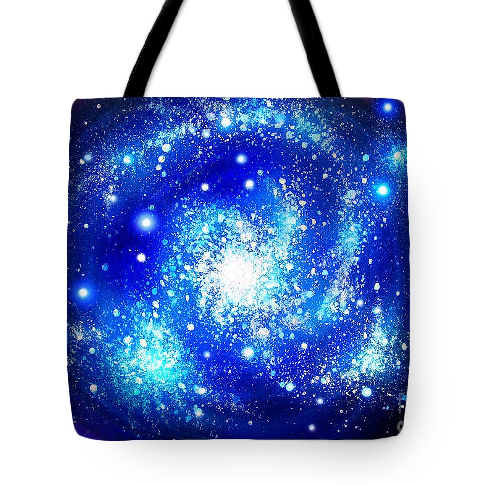Blue Tote Bag Featuring The Painting Neon Galaxy Bright Stars By Sofia Metal