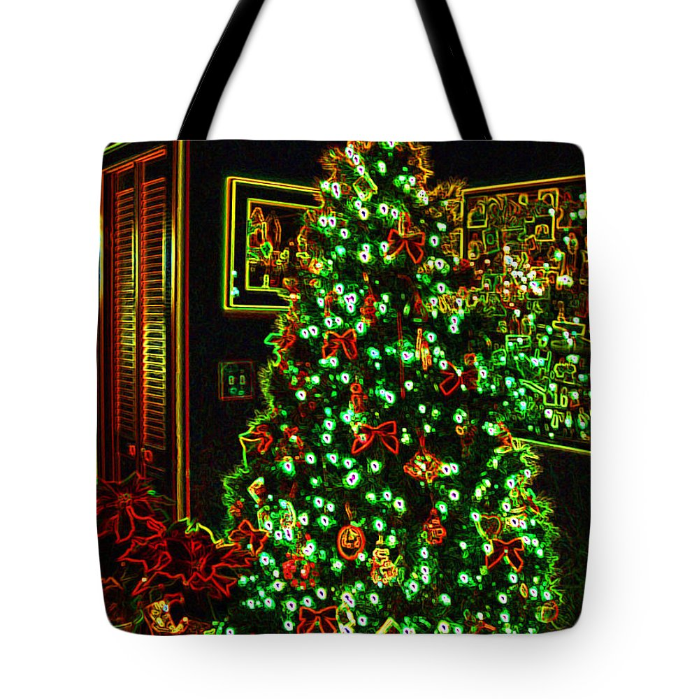 Christmas Tote Bag featuring the photograph Neon Christmas Tree by Nancy Mueller