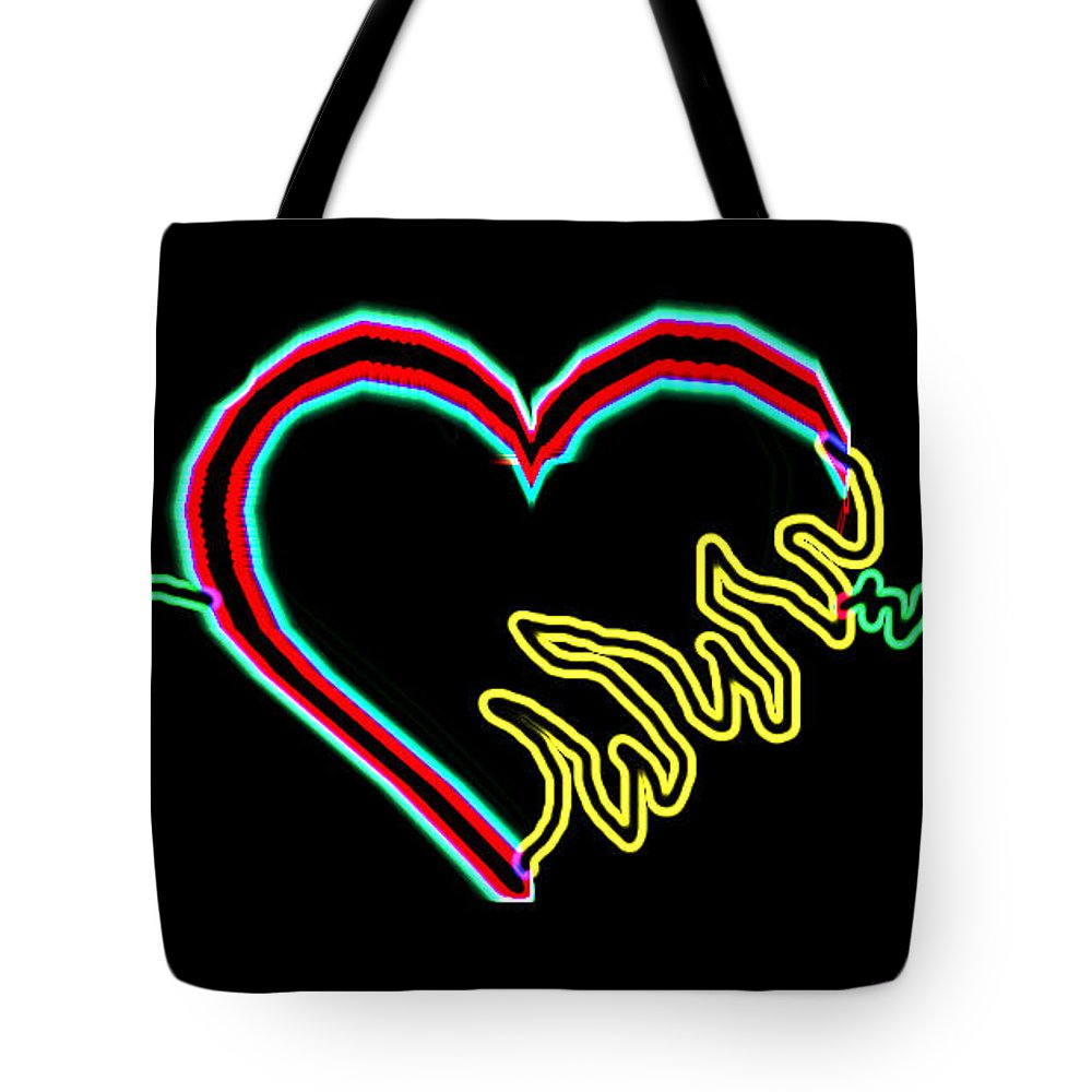 Fire Tote Bag featuring the digital art Neon Heart by Daniel Ferniza