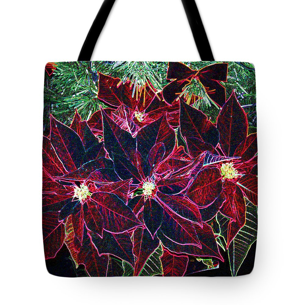 Flowers Tote Bag featuring the photograph Neon Poinsettias by Nancy Mueller