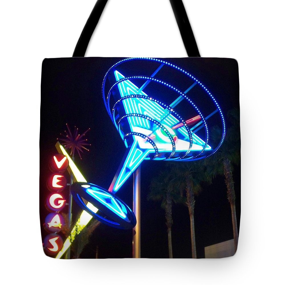 Vegas Tote Bag featuring the photograph Neon Signs 1 by Anita Burgermeister