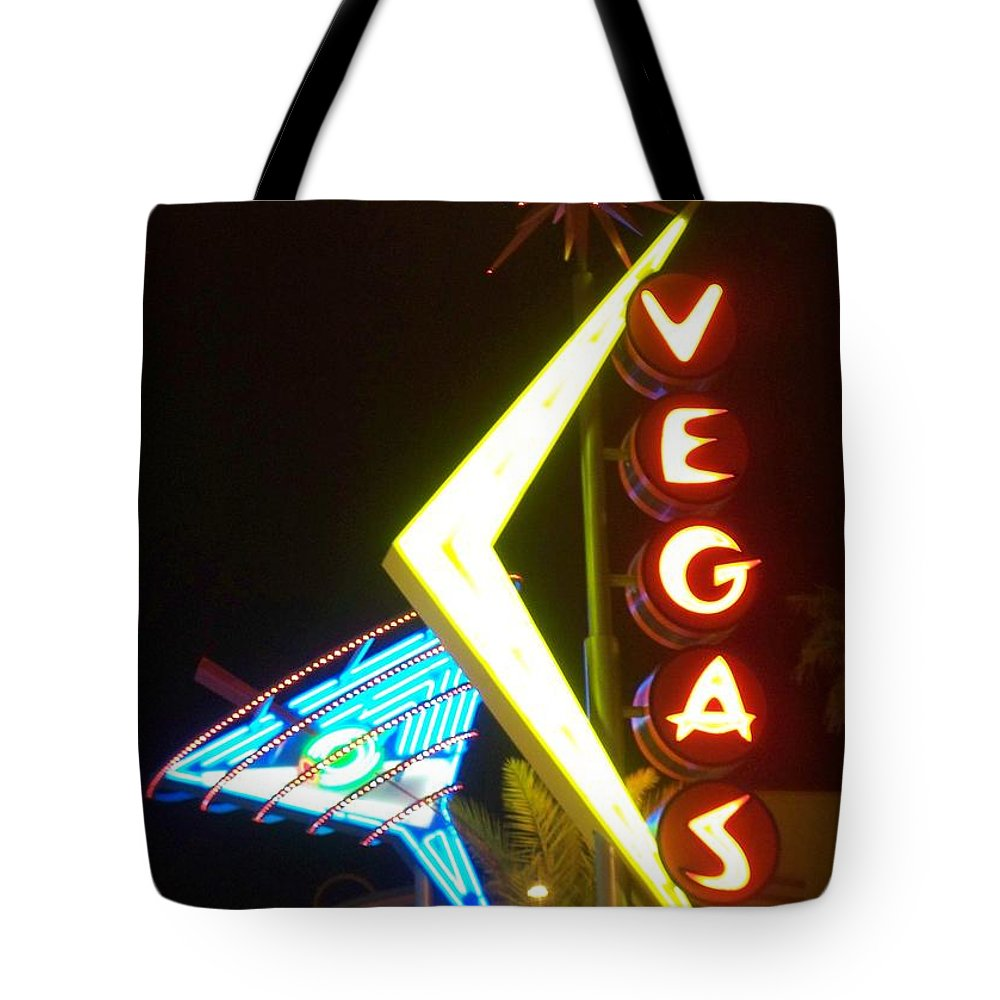 Fremont East Tote Bag featuring the photograph Neon Signs 3 by Anita Burgermeister