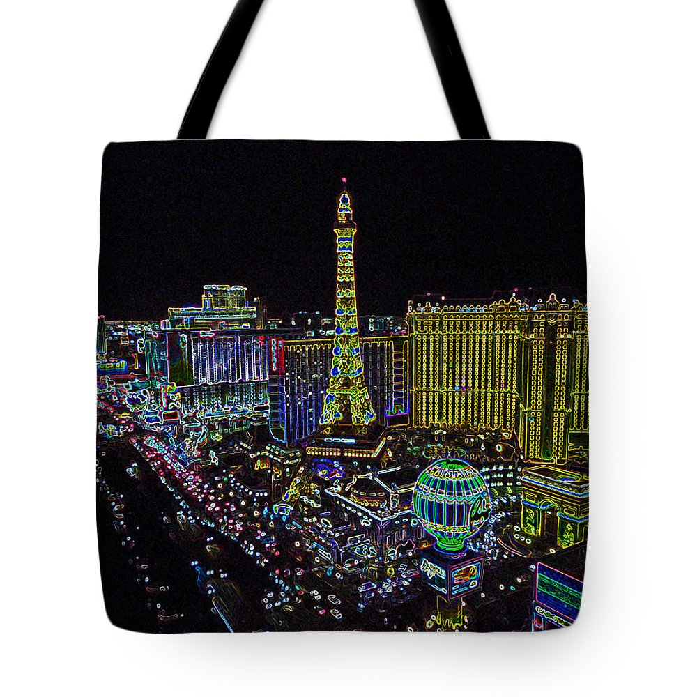 Architecture Tote Bag featuring the digital art neon Vegas by Dale Chapel
