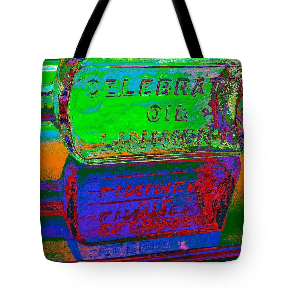 Bottle Tote Bag featuring the digital art Neon Vessels by Larry Beat