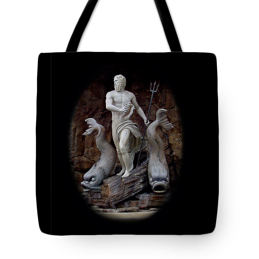 Neptune Tote Bag featuring the mixed media Neptune On Guard by Shirley Heyn