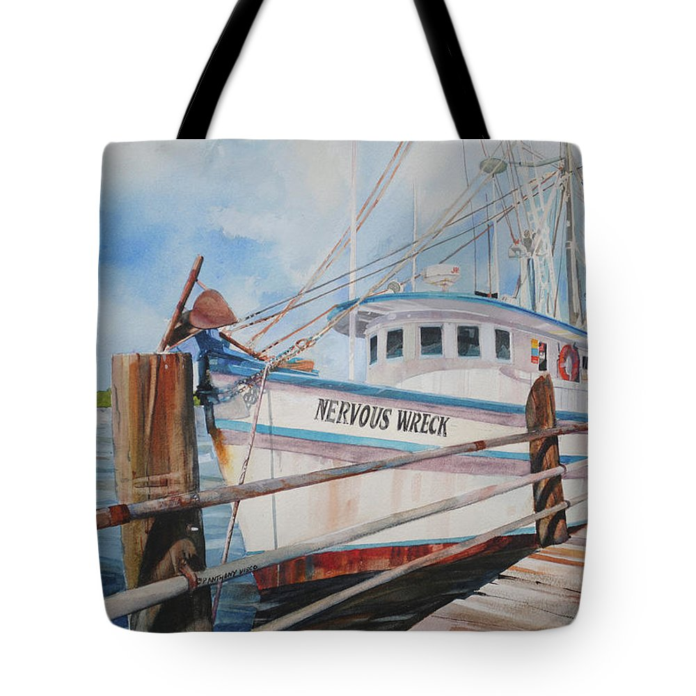 Dragger Tote Bag featuring the painting Nervous Wreck by P Anthony Visco