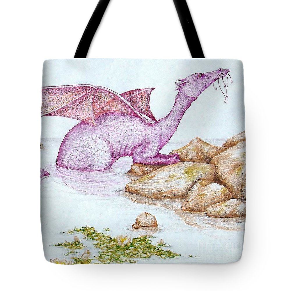 Dragon Tote Bag featuring the drawing Nessy's Cousin by K M Pawelec