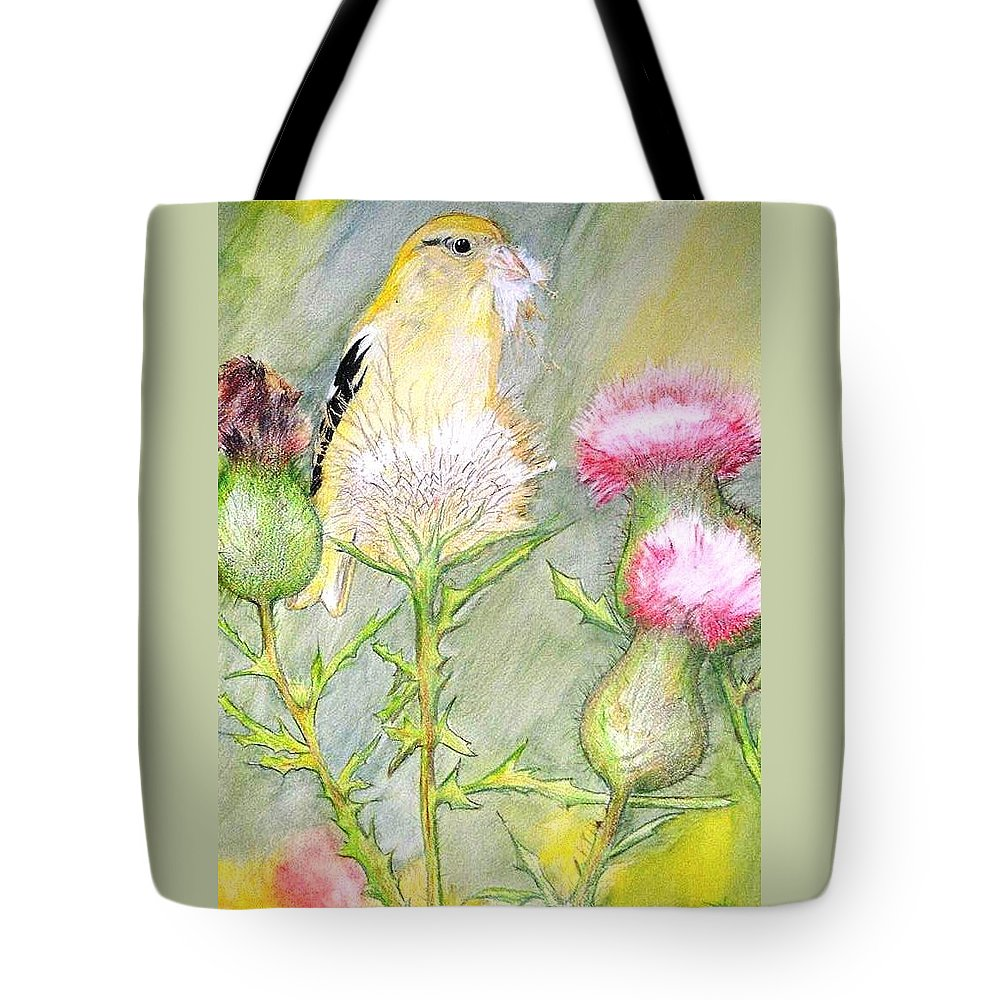 Goldfinch Tote Bag featuring the painting Nest Fluff by Debra Sandstrom