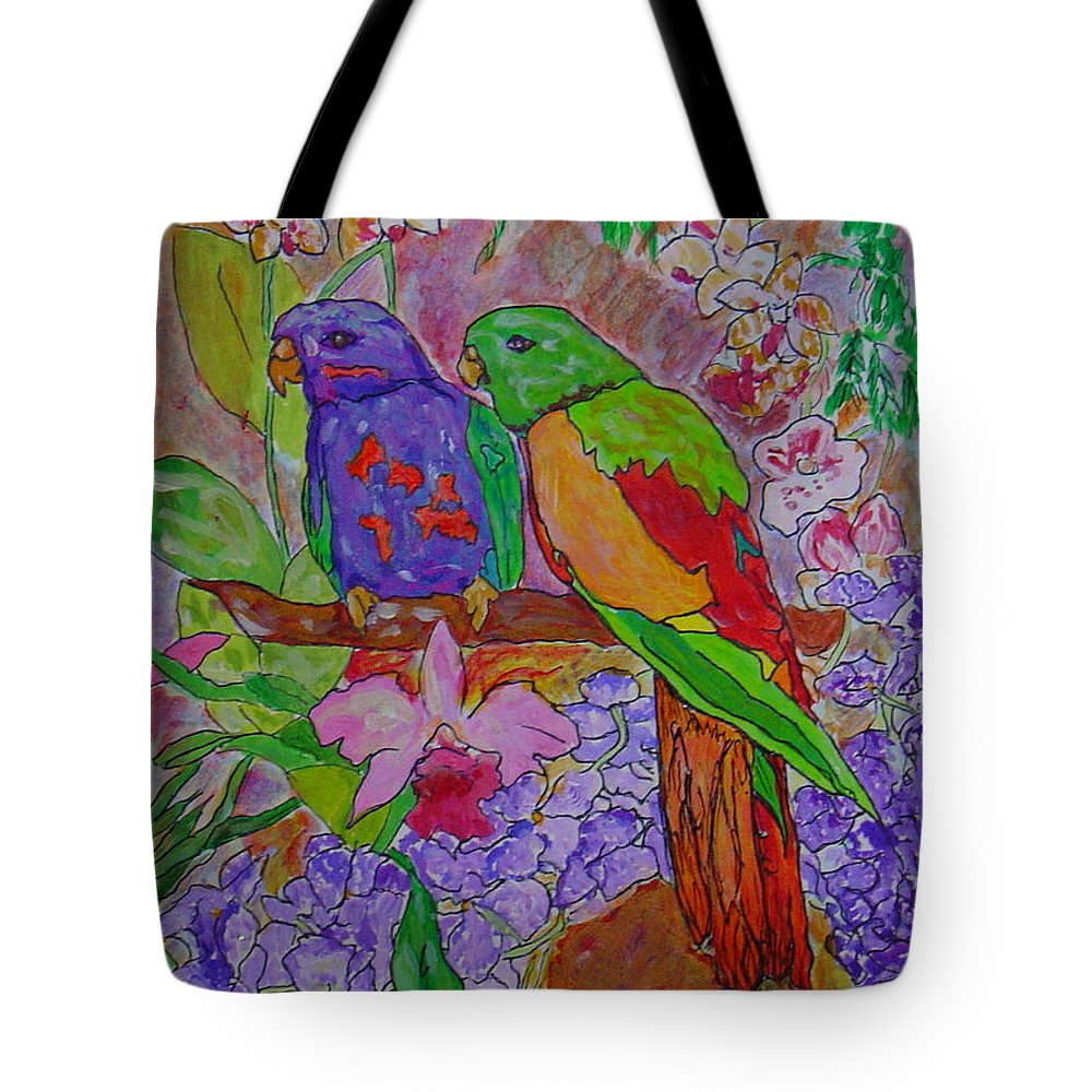 Tropical Pair Birds Parrots Original Illustration Leilaatkinson Tote Bag featuring the painting Nesting by Leila Atkinson