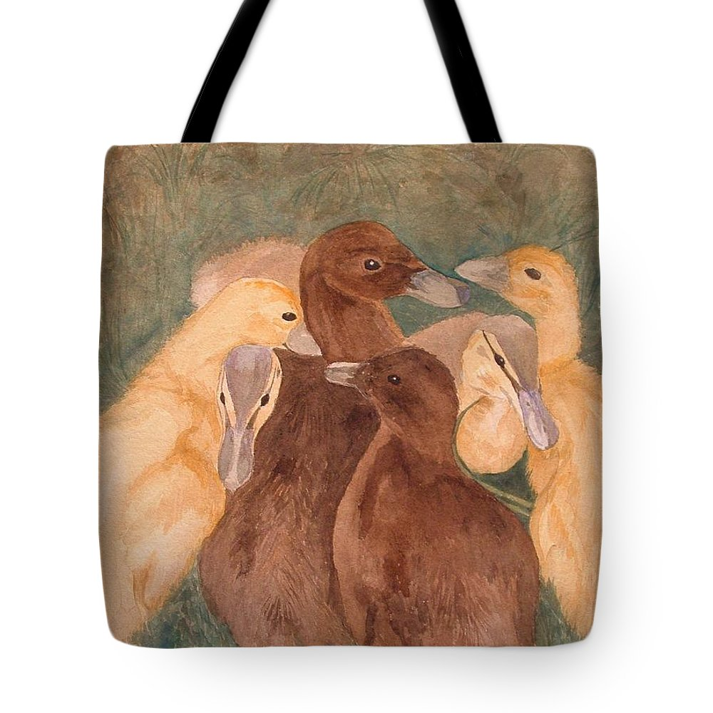 Watercolor Tote Bag featuring the painting Nestlings. Ducklings Huddled Together by Lynn ACourt