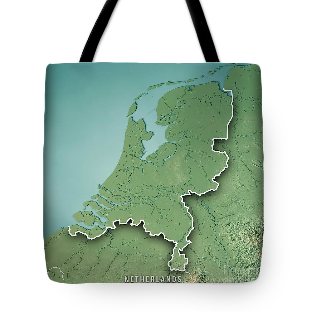 Netherlands Topographic Map.Netherlands Country 3d Render Topographic Map Border Tote Bag For