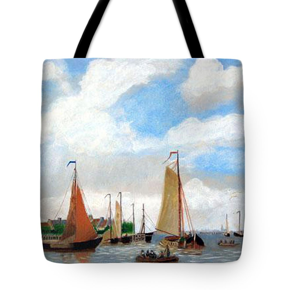 Netherlands Tote Bag featuring the painting Netherland's Harbour by Richard Le Page