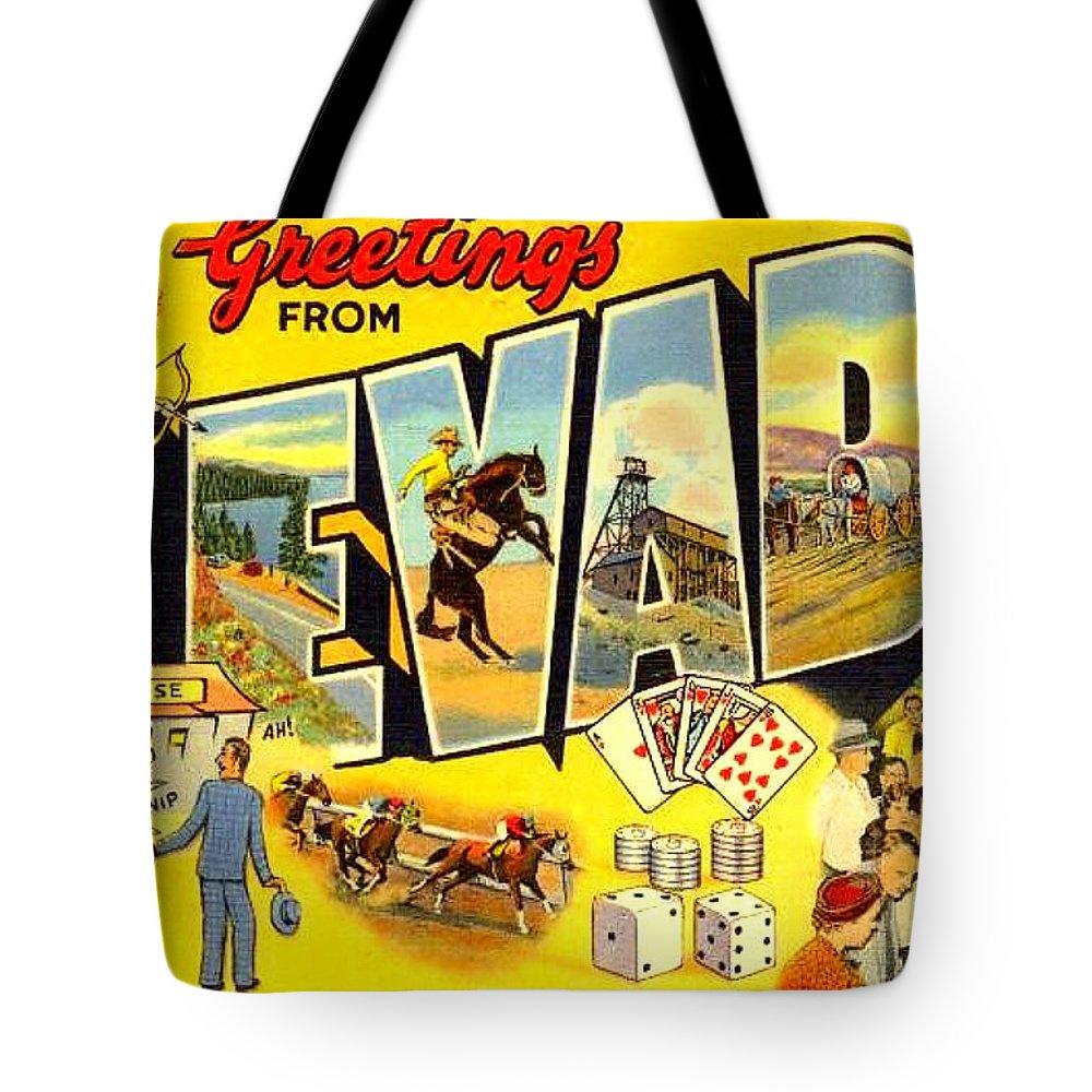 Las Vegas Tote Bag featuring the digital art Nevada Postcard by Marianne Dow