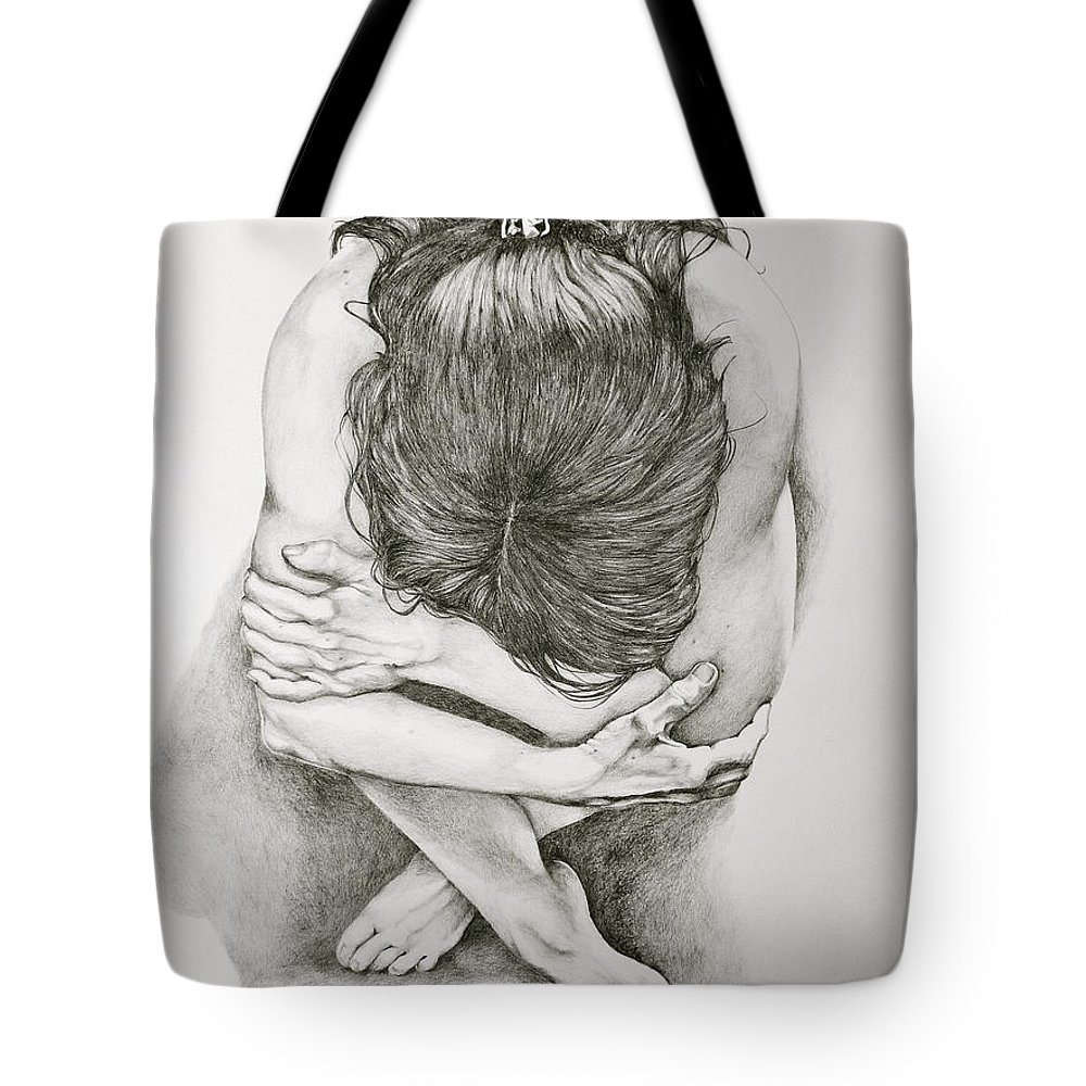 Figure Drawing Tote Bag featuring the drawing Never Enough by Sarah Luginbill