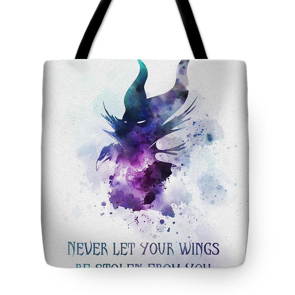 Maleficent Tote Bag featuring the mixed media Never Let Your Wings Be Stolen From You by My Inspiration