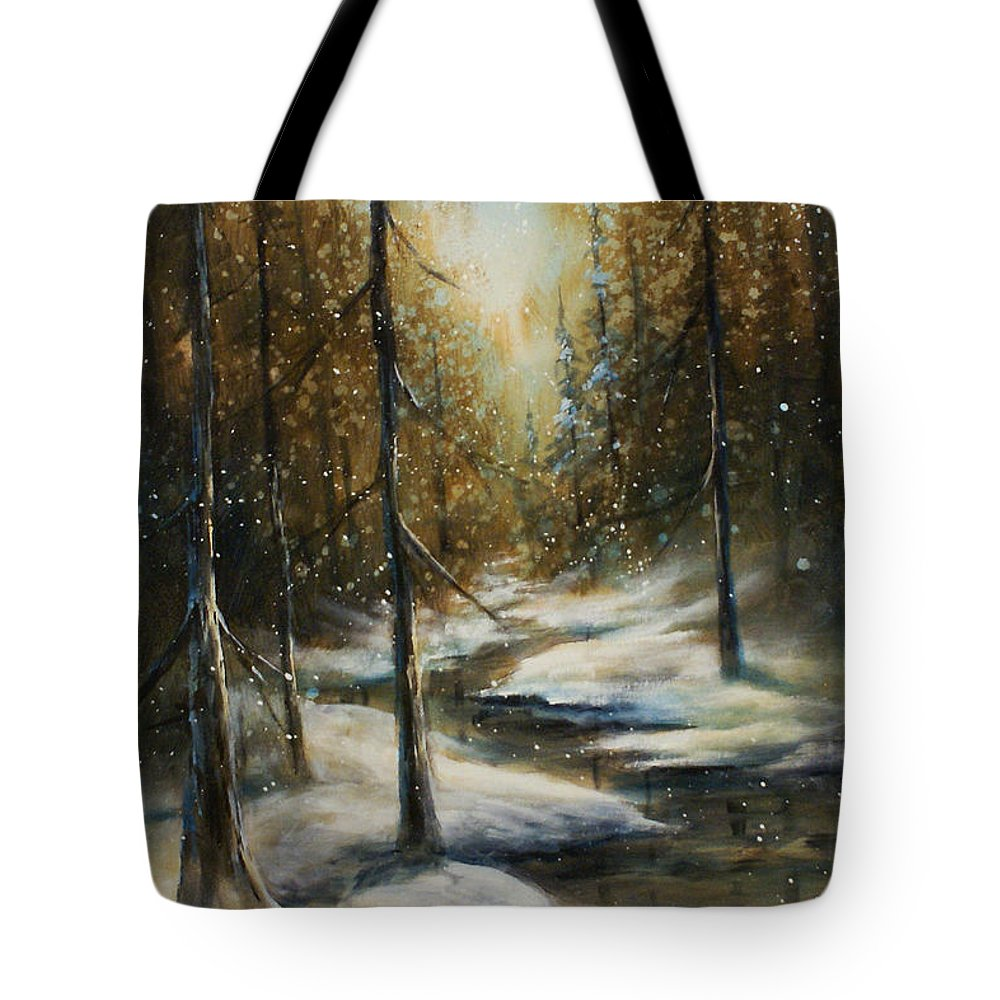 Landscape Snow Winter Scene Woods Trail Creek Quiet Tote Bag featuring the painting Neverending by Michael Lang