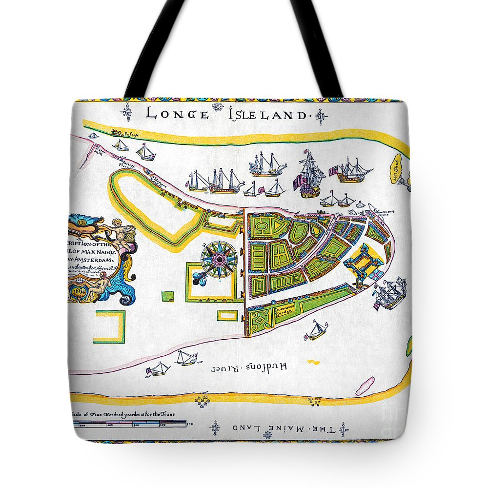 1661 Tote Bag featuring the photograph New Amsterdam Map, 1661 by Granger