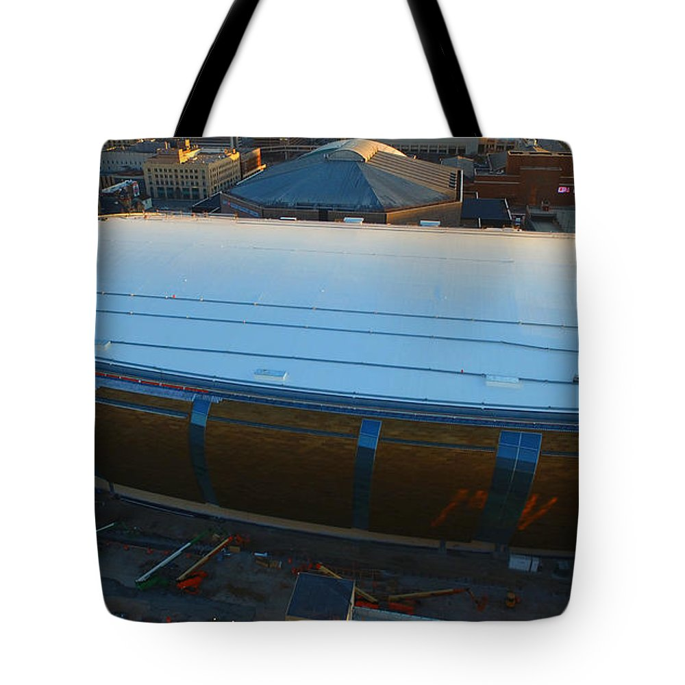 Milwaukee Bucks Tote Bag featuring the photograph New Arena by Steve Bell