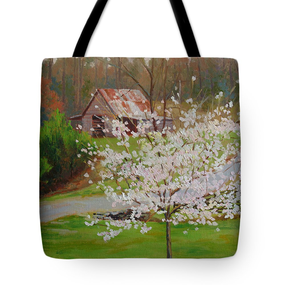 Landscape Tote Bag featuring the painting New Blossoms Old Barn by Keith Burgess