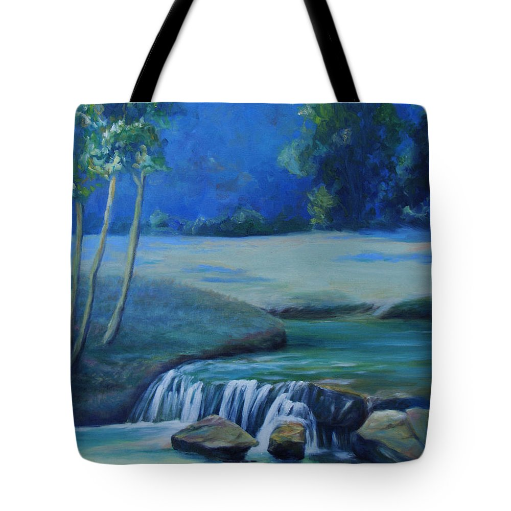 Guadalupe River Tote Bag featuring the painting New Braunfels River Scene by Susan Thacker