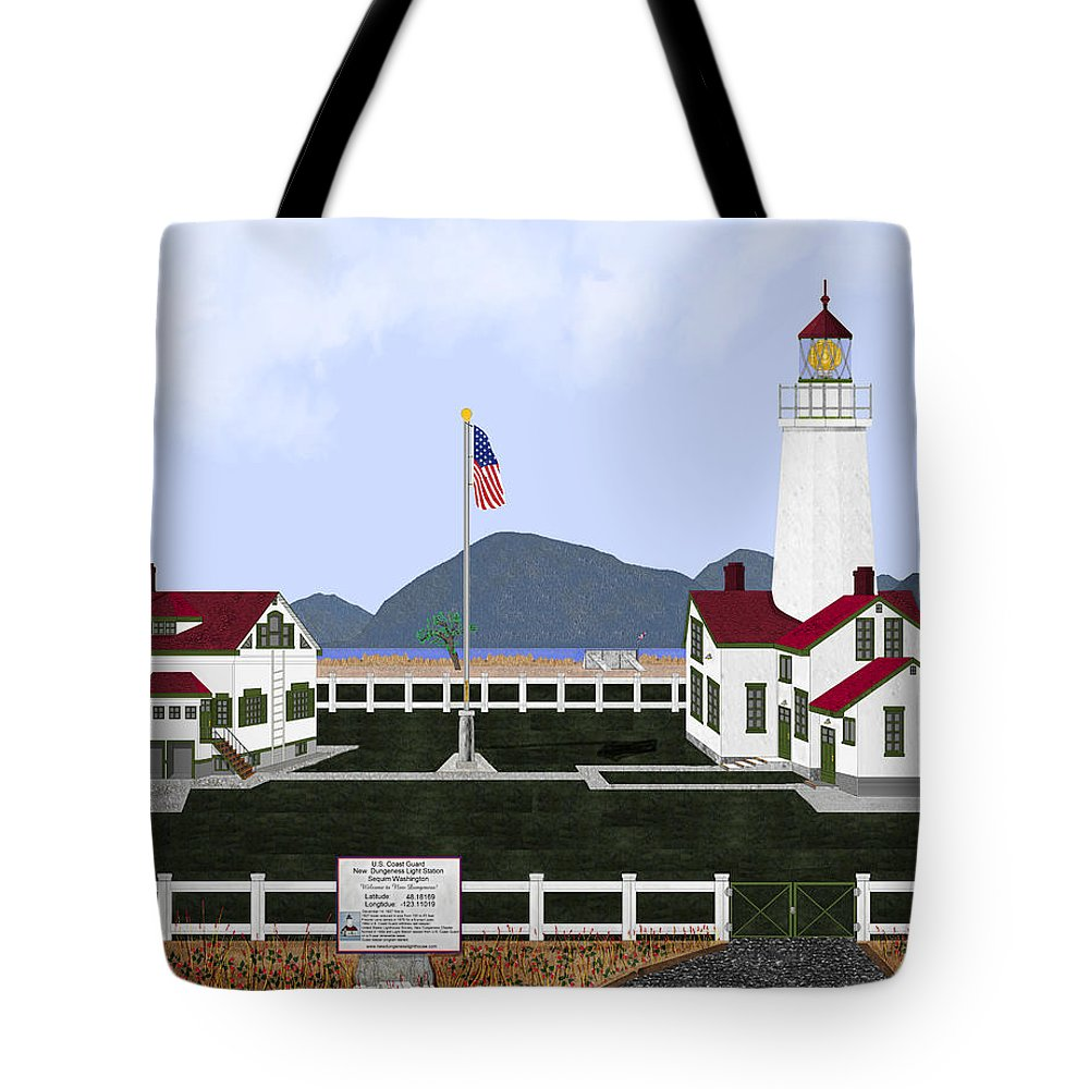 Lighthouse Tote Bag featuring the painting New Dungeness Lighthouse At Sequim Washington by Anne Norskog