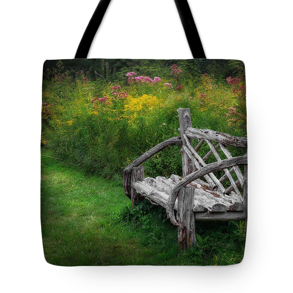 Bench Tote Bag featuring the photograph New England Summer Rustic by Bill Wakeley
