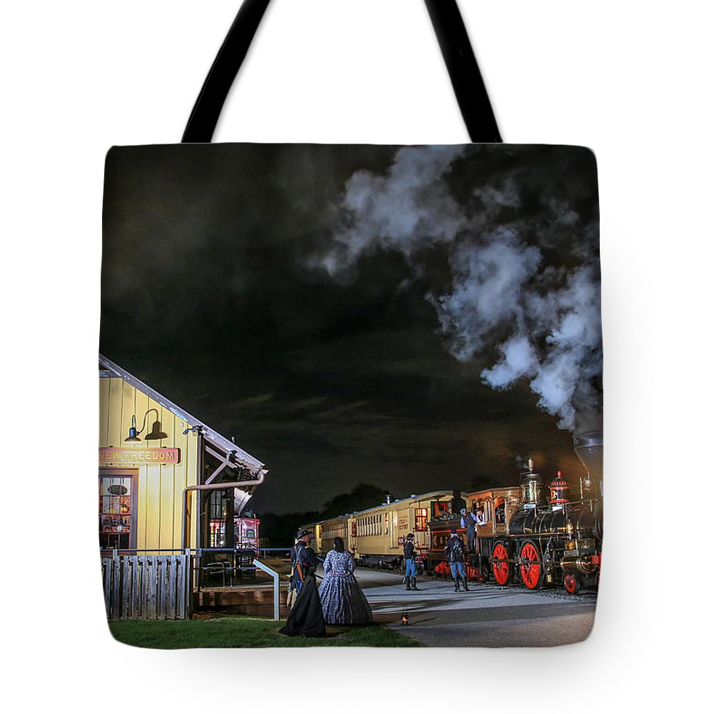 New Freedom Tote Bag featuring the photograph New Freedom Pa Steam Train by Sharon Horn