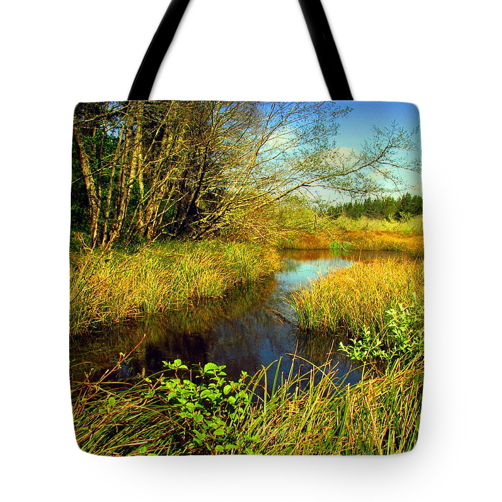 Pond Tote Bag featuring the photograph New Growth At The Pond by Joyce Dickens