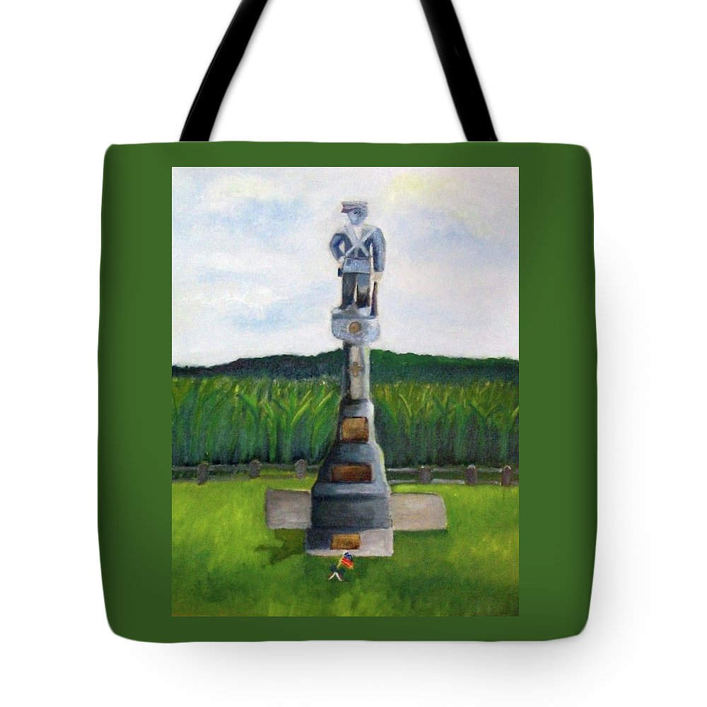Monocacy Tote Bag featuring the painting New Jersey Soldier At Monocacy Battlefield In Frederick Md. by Rebecca Jackson