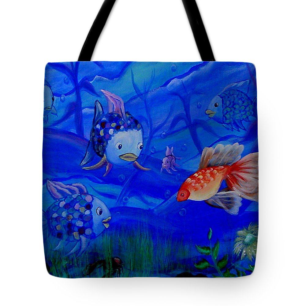 Fish Tote Bag featuring the painting New Kid In Town by Quwatha Valentine
