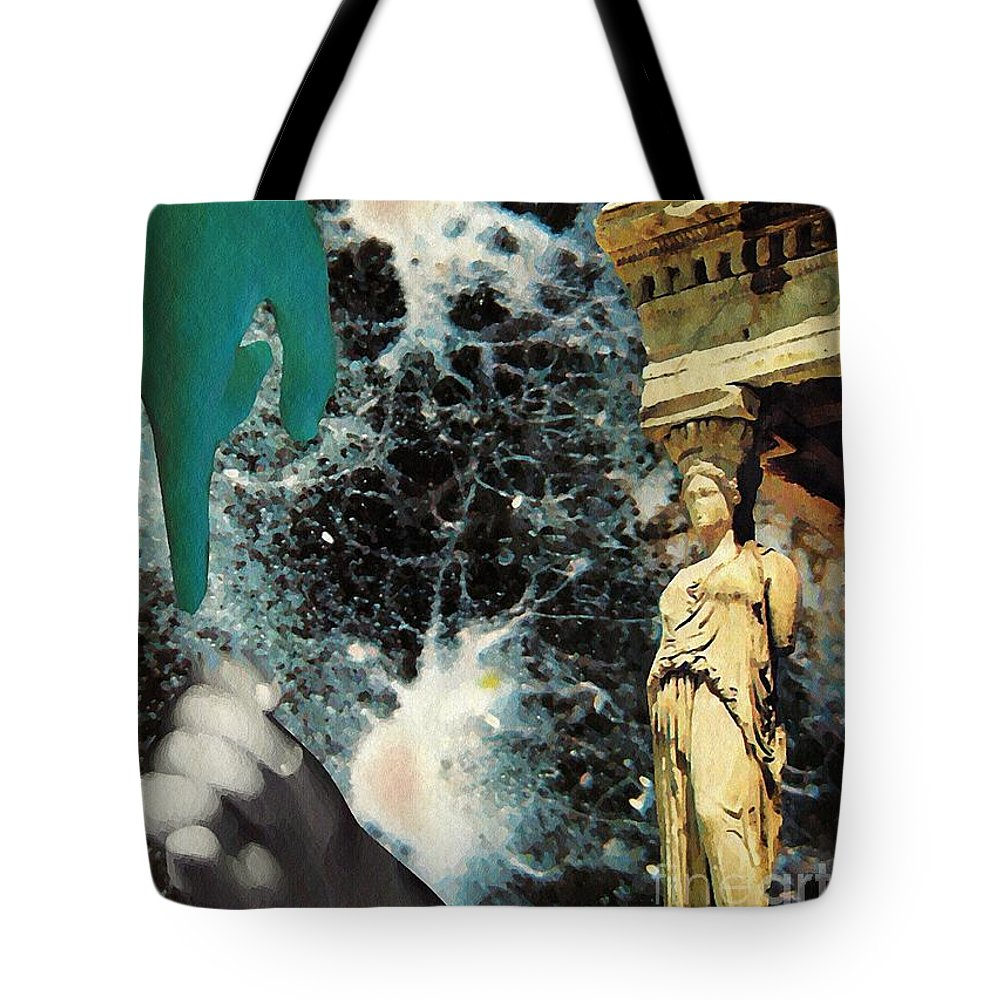 Space Tote Bag featuring the mixed media New Life In Ancient Time-space by Sarah Loft