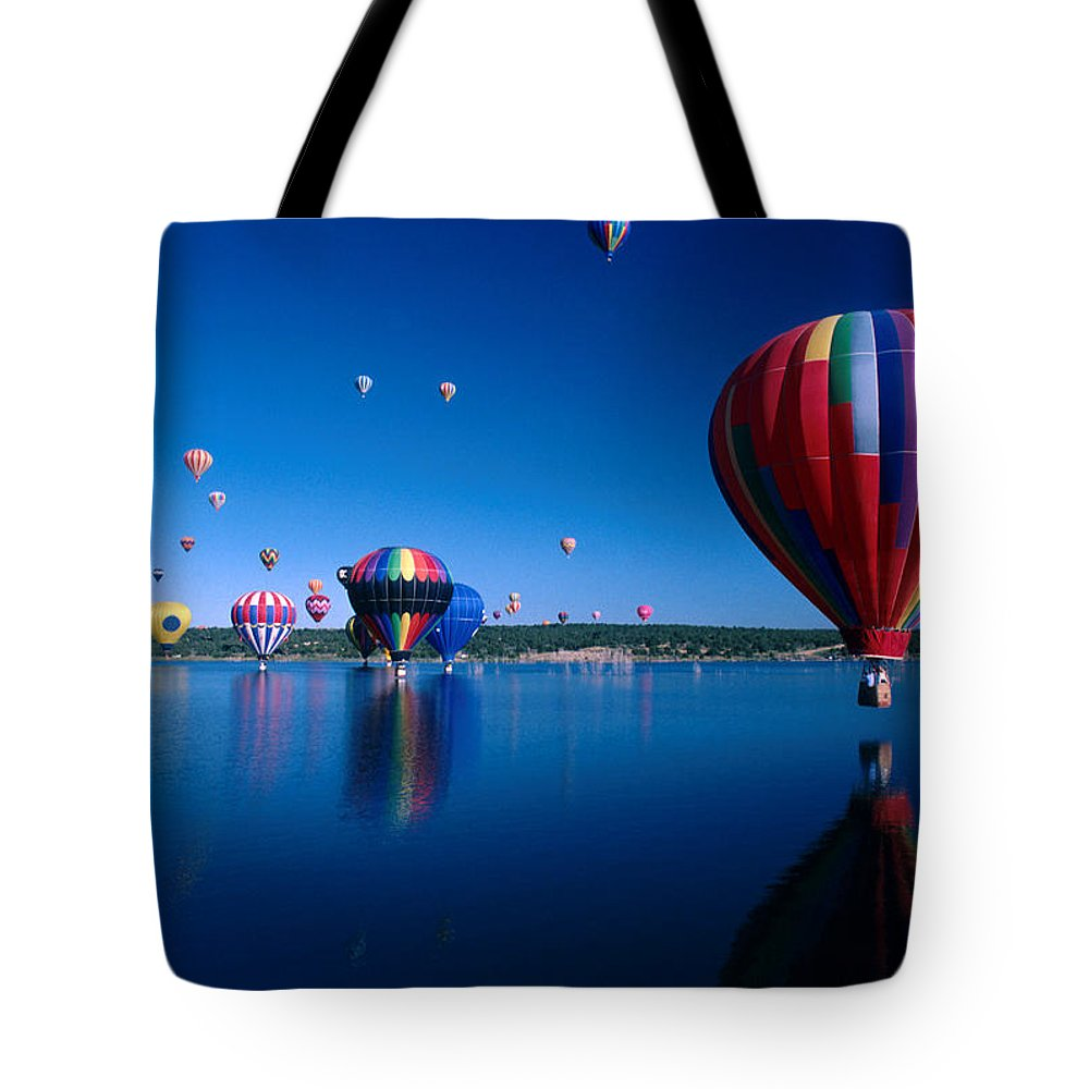 Hot Air Balloon Tote Bag featuring the photograph New Mexico Hot Air Balloons by Jerry McElroy