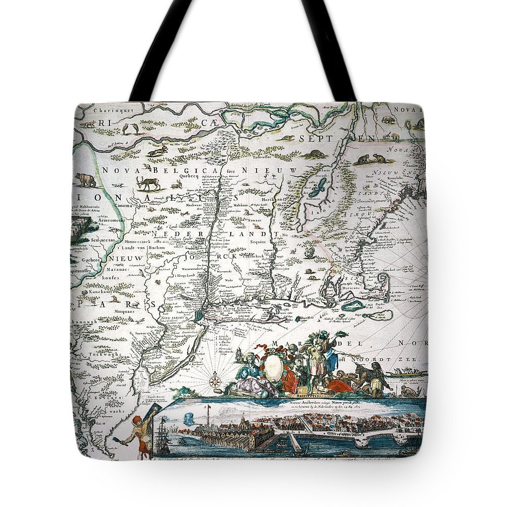 1673 Tote Bag featuring the photograph New Netherland Map by Granger