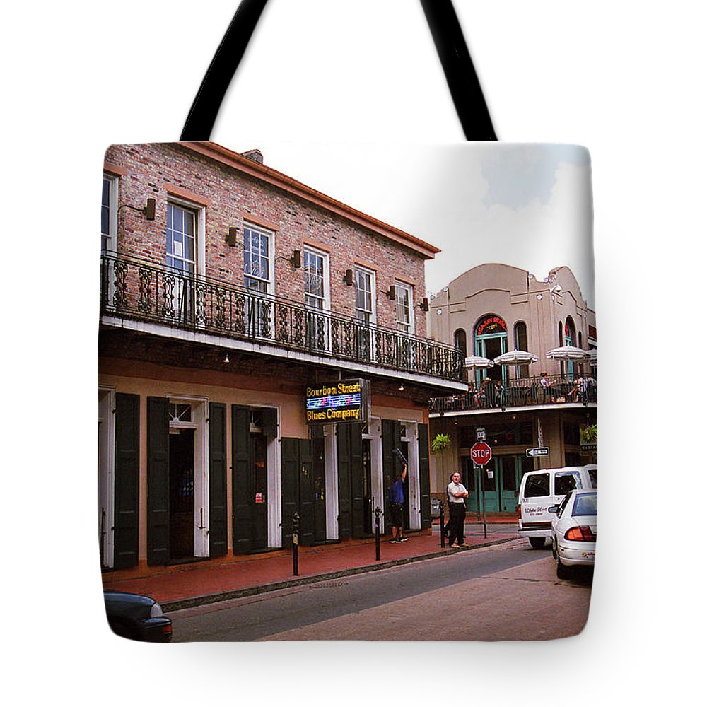 Attractions Tote Bag featuring the photograph New Orleans Bourbon Street 2004 #43 by Frank Romeo