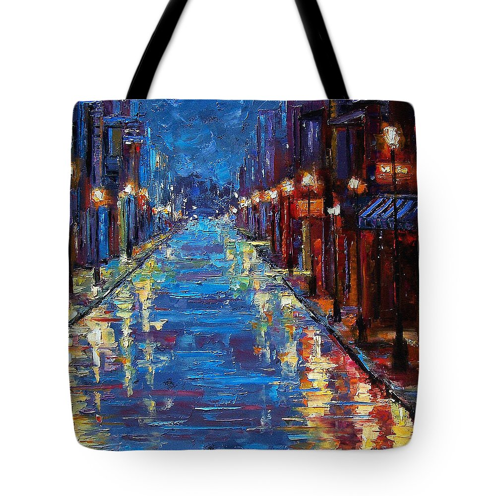 Cityscape Tote Bag featuring the painting New Orleans Bourbon Street by Debra Hurd