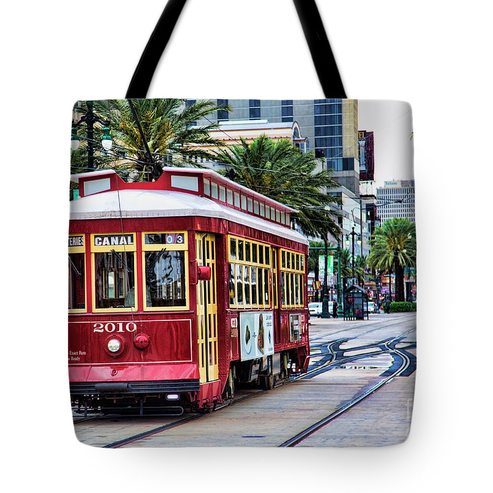 New Orleans Tote Bag featuring the photograph New Orleans Canal Streetcars by Chuck Kuhn