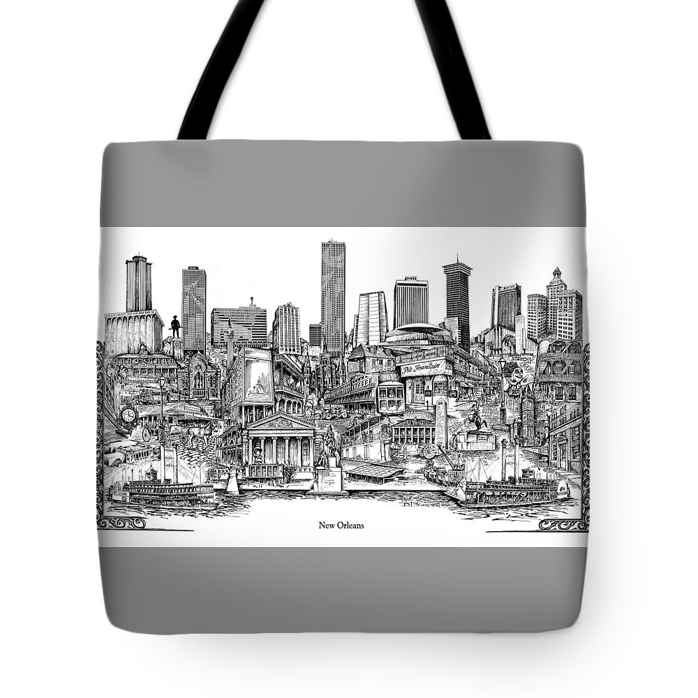 City Drawing Tote Bag featuring the drawing New Orleans by Dennis Bivens