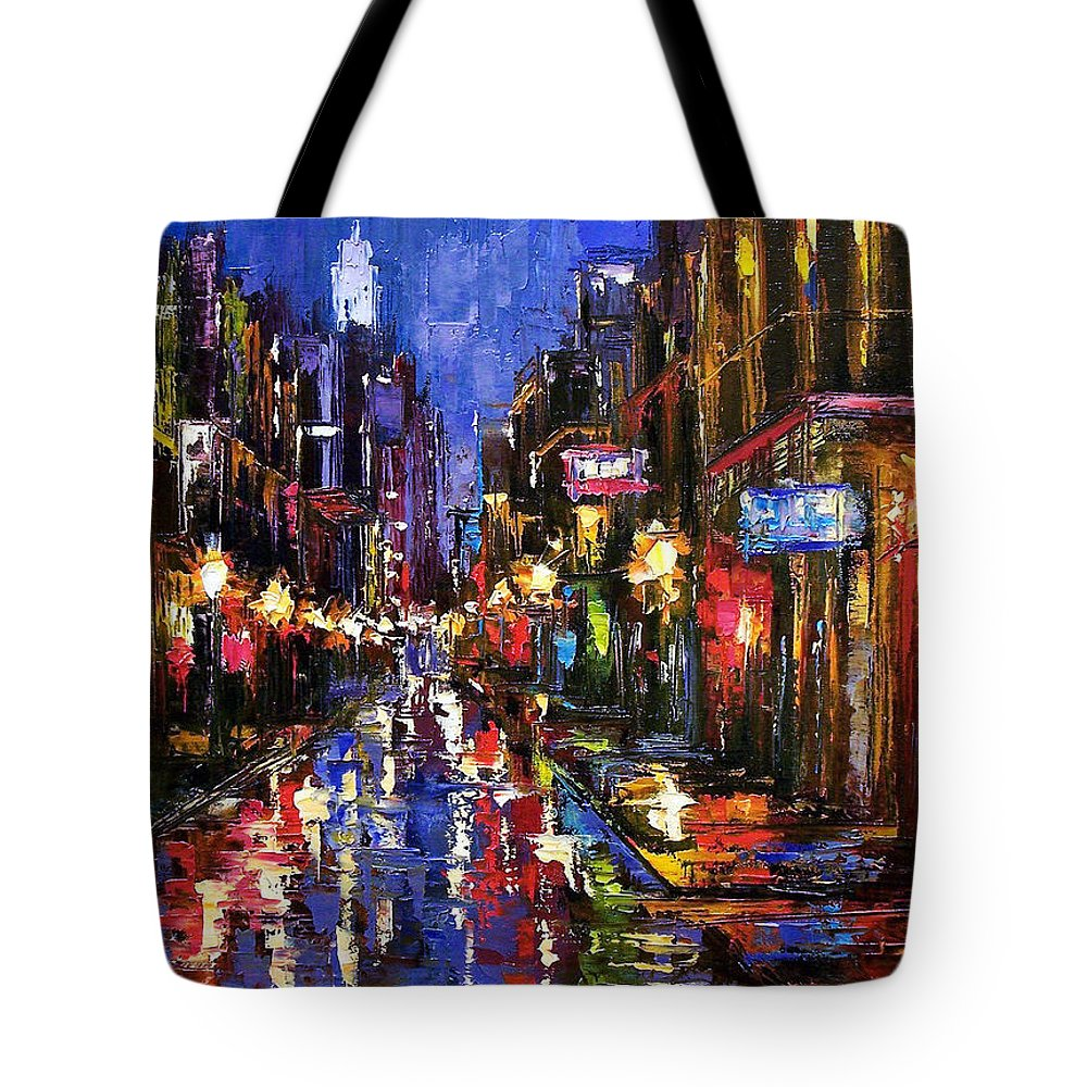 Cityscape Tote Bag featuring the painting New Orleans Storm by Debra Hurd