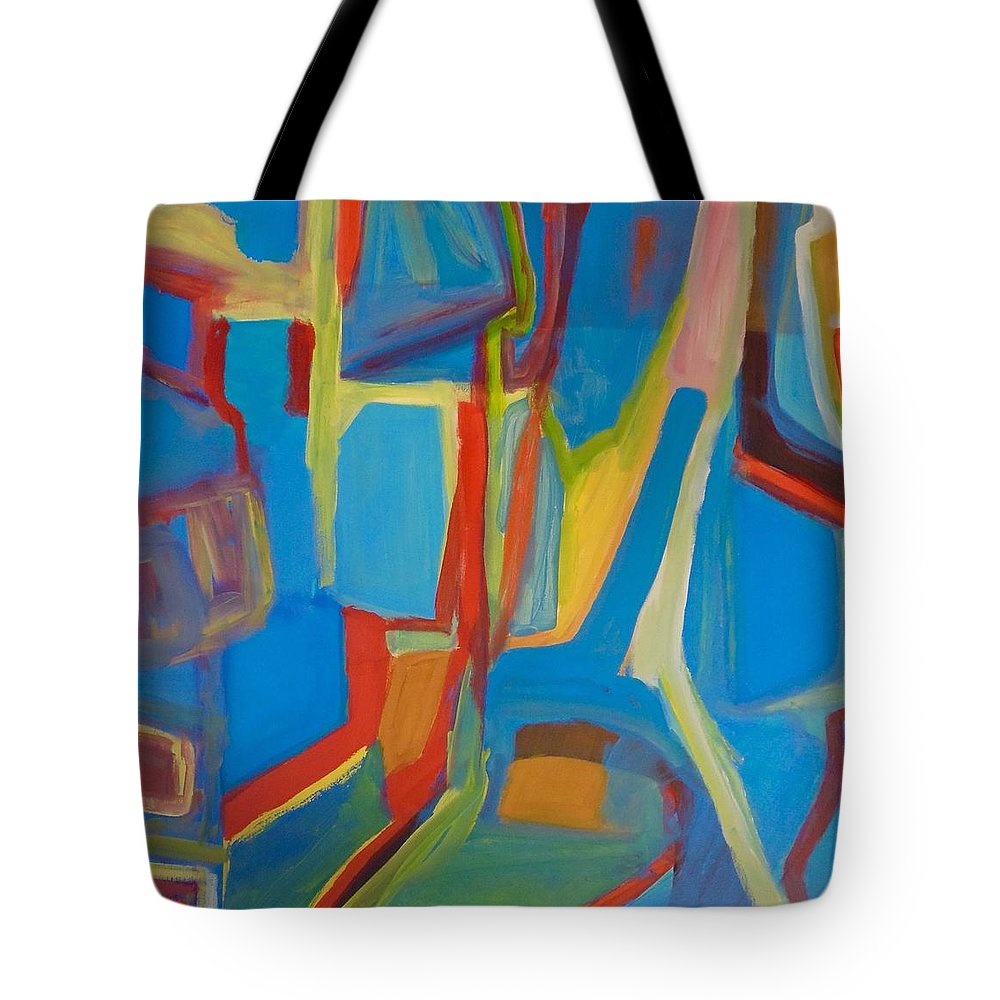Colourful Tote Bag featuring the painting New Pathways #3 by Rosemari Golledge