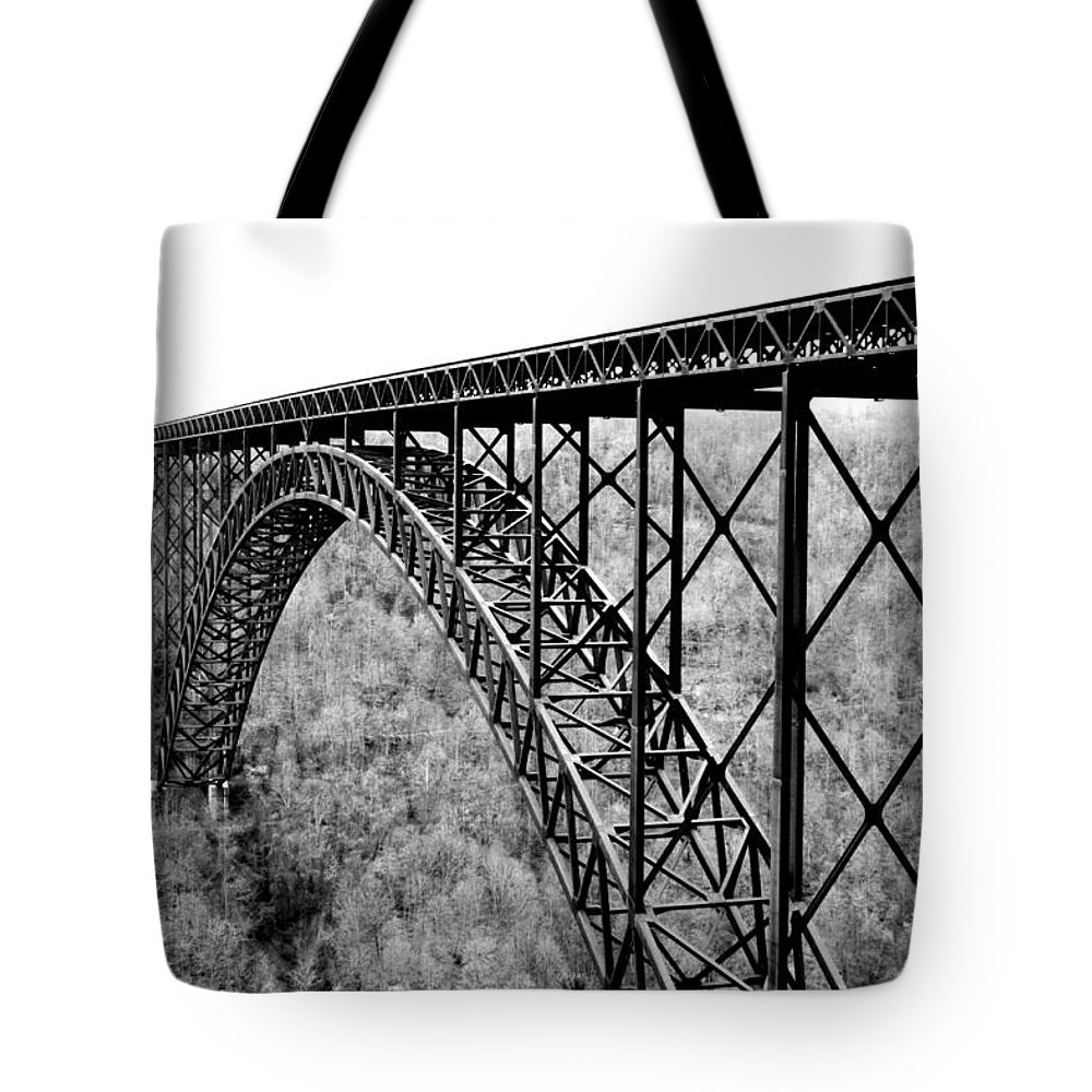 New River Gorge Tote Bag featuring the photograph New River Gorge Bridge Bw by SC Shank
