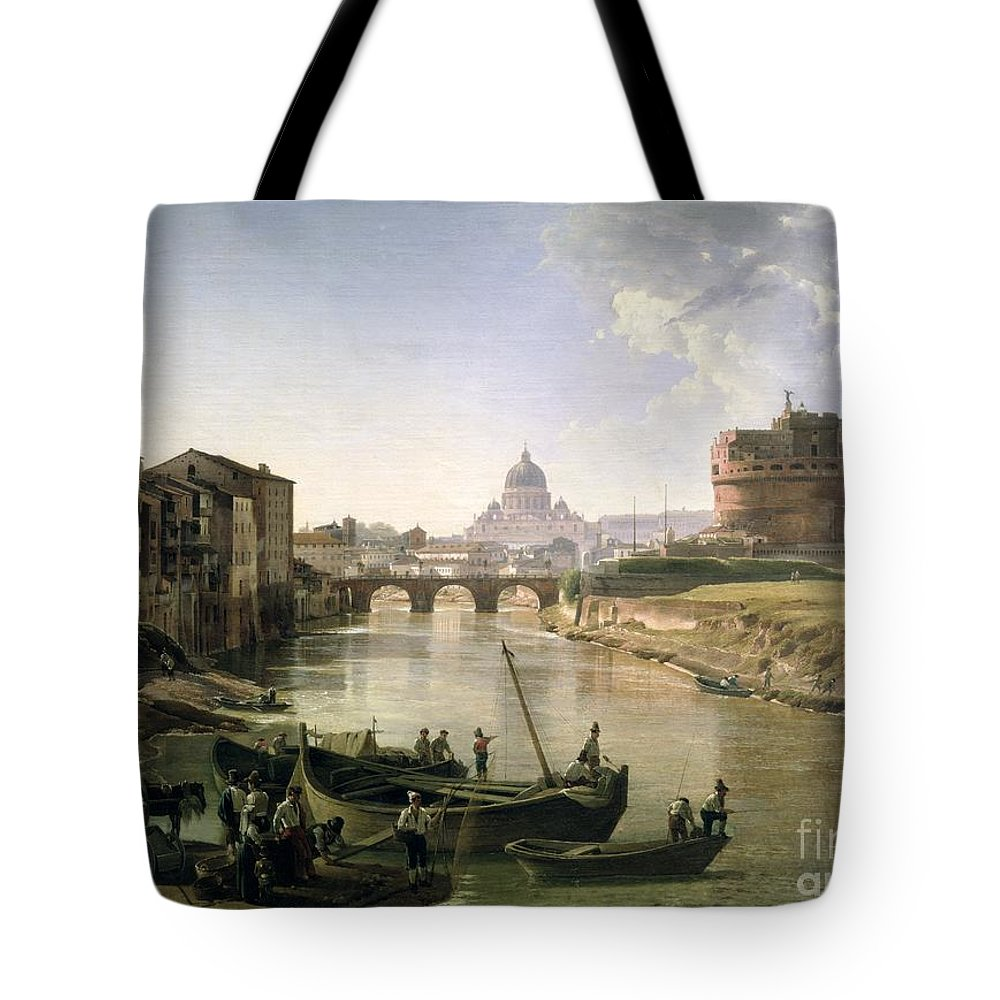 River Tiber Tote Bag featuring the painting New Rome With The Castel Sant Angelo by Silvestr Fedosievich Shchedrin