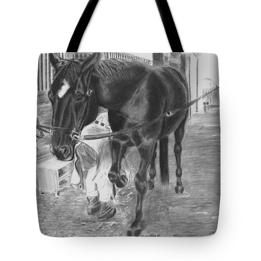 Horse Tote Bag featuring the drawing New Shoes by Quwatha Valentine