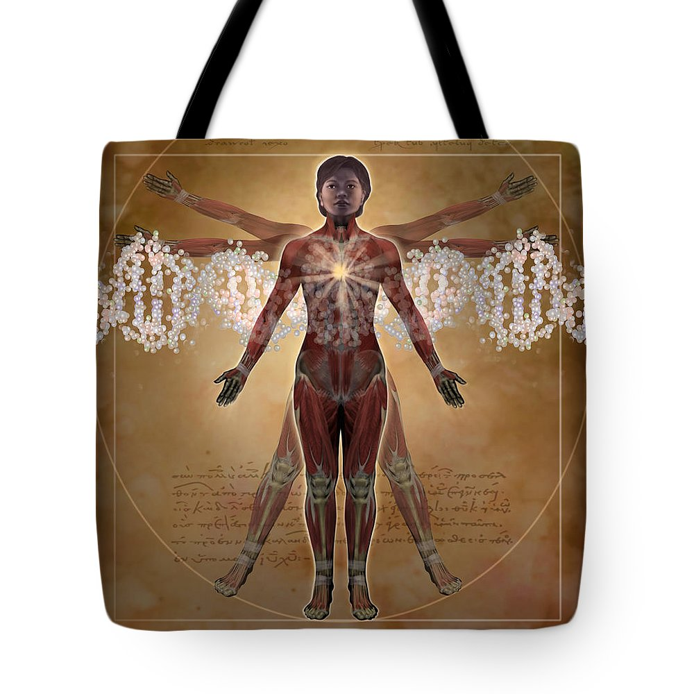 Illustration Tote Bag featuring the digital art New Vitruvian Woman by Jim Dowdalls and Photo Researchers