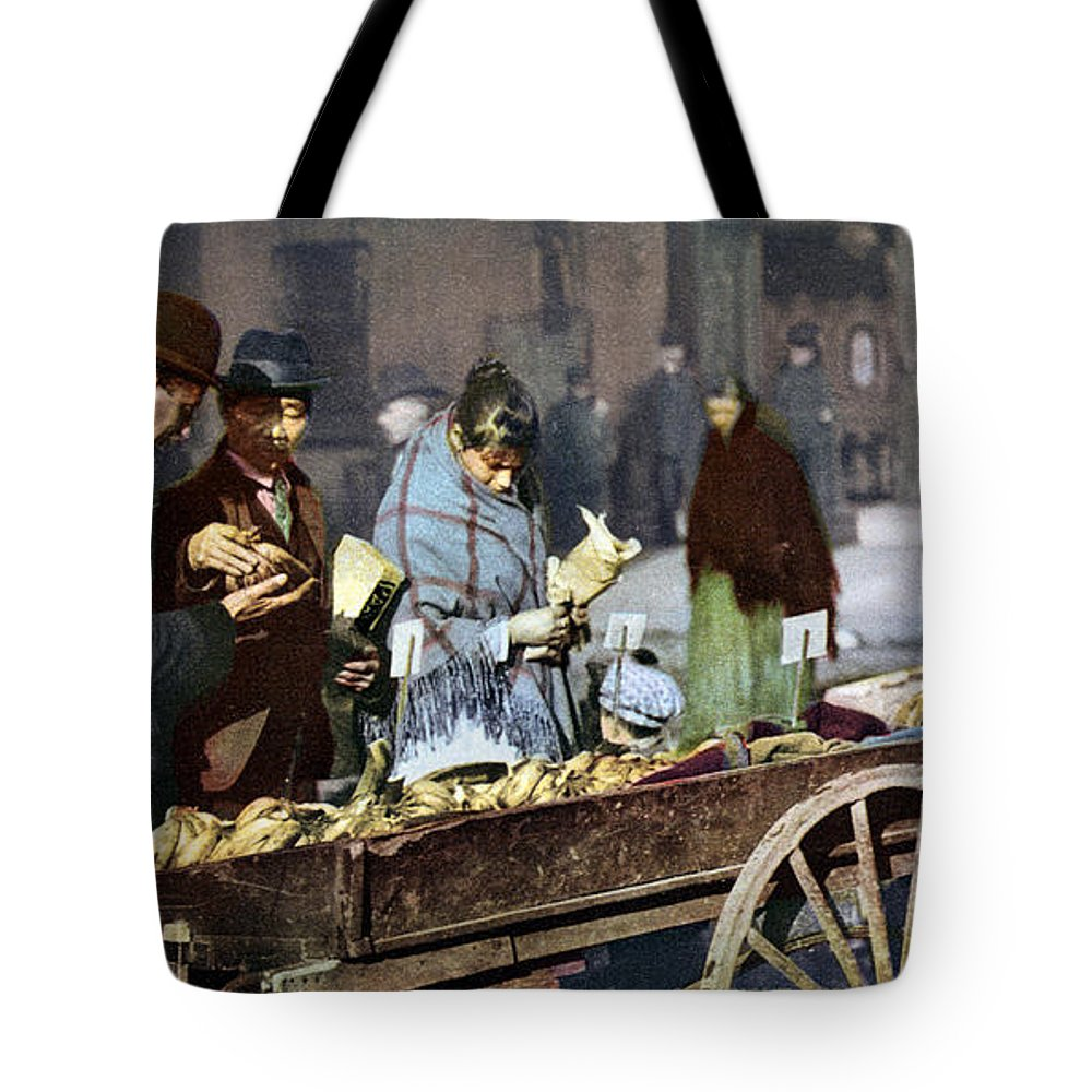 1900 Tote Bag featuring the photograph New York: Banana Cart by Granger