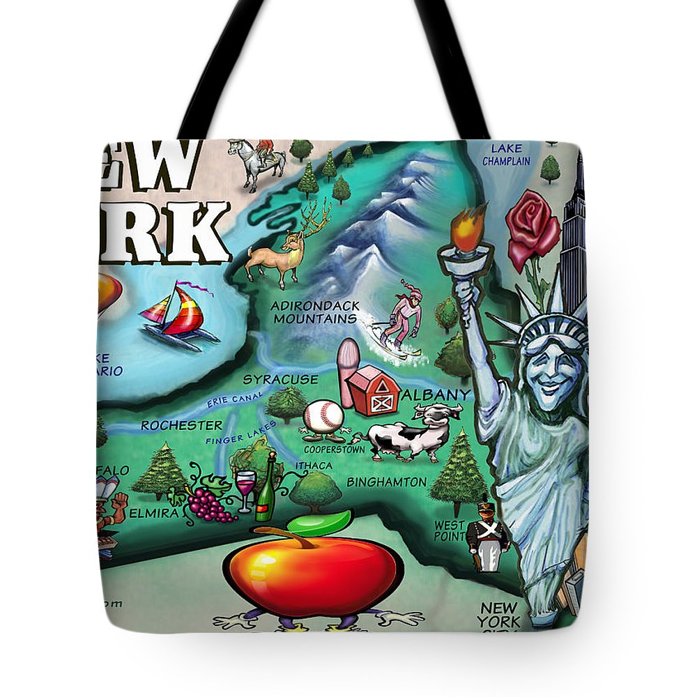 New York Tote Bag featuring the digital art New York Cartoon Map by Kevin Middleton